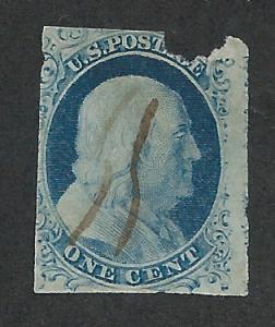 9 Used 1c. Franklin, Type IV, fault, scv $80