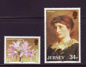 Jersey  Sc 391-2 1986 Lillie Langtry  Lily stampsmint  NH