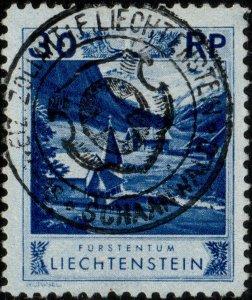 LIECHTENSTEIN - 1930 - SWISS CUSTOMS IN SCHAANWALD handstamp on Mi.99 (ref.891m)