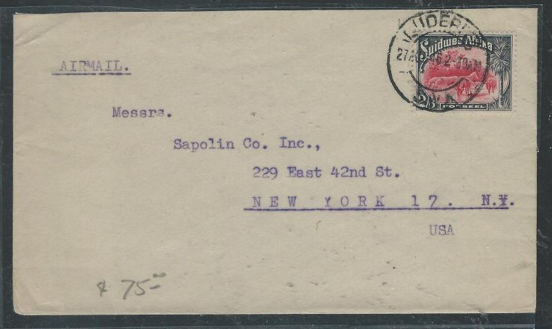 SOUTH  WEST AFRICA  (P2504B) 2/6 ANIMAL ON A/M COVER TO USA