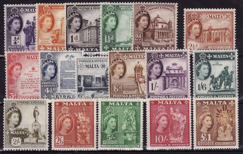 Malta QE-II Complete Definitive SET SG 266-282 MNH~ Nice Set& Good Price!