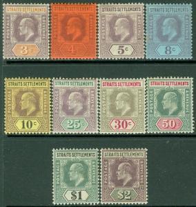 EDW1949SELL : STRAITS SETTLEMENT 1902 Scott #94-102 VF MOG High Val VLH Cat $214