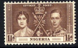 Nigeria 1937 KGV1 1 1/2d Brown Coronation MM SG 47  ( A879 )
