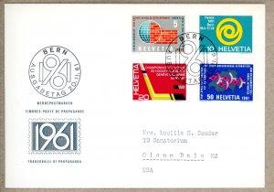 Switzerland FDC Scott 402-405 hockey telephone development      (Inv 001511.)