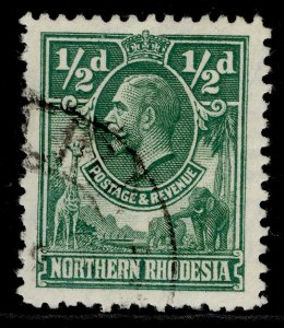 NORTHERN RHODESIA GV SG1, ½d green, FINE USED.