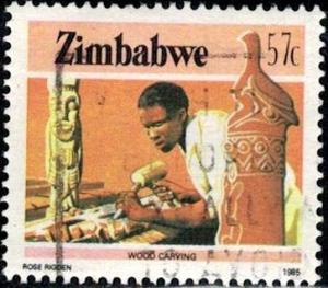 Wood Carving, Zimbabwe stamp SC#511 used
