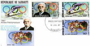 Djibouti 1987 Sc#631/633 Olympics Seoul/Calgary Set (3) FDC