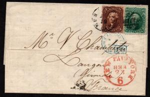 $US Sc#68+75 red brown 1869 cover, New Orleans to France
