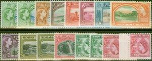 Trinidad & Tobago 1953-59 Extended set of 16 SG267-278a All Perfs & Shades V.F L