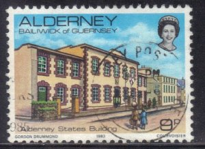 ALDERNEY SC# 3 **USED** 9p 1983  STATE BUILDING  SEE SCAN