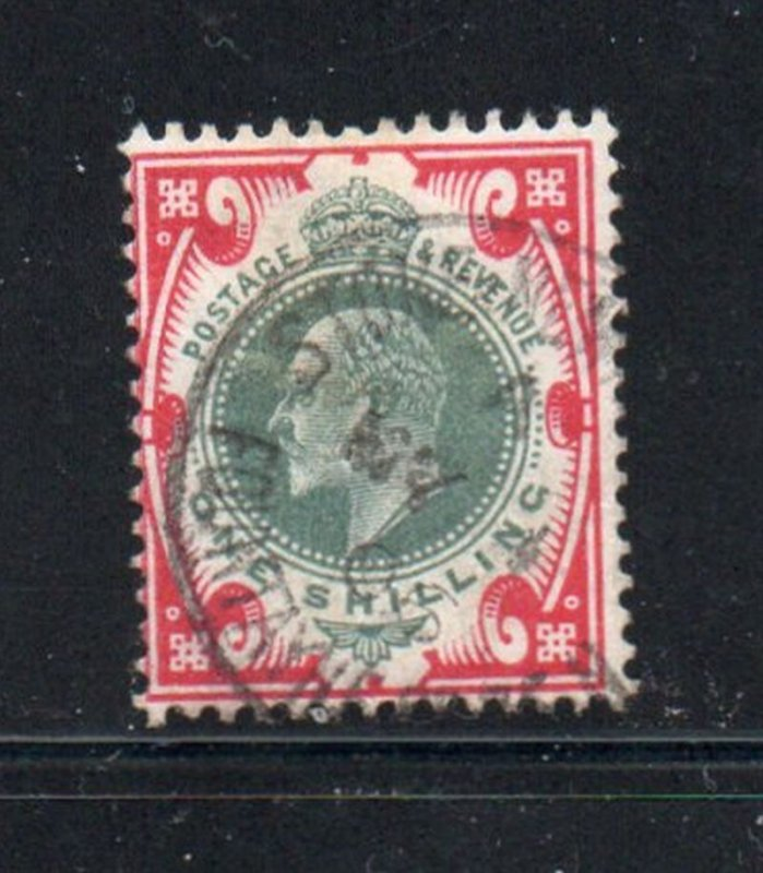 Great Britain Sc 138 1902 1/ carmine & dull green Edward VII stamp used