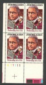 2110 Jerome Kern Plate Block Mint/nh (Free Shipping)