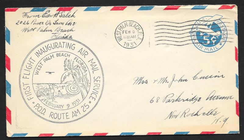 UNITED STATES First Flight Cover 1931 West Palm Beach