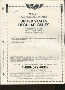 2016 Minkus United States Regular Issues Supplement Stamp Album Pages MUSR16