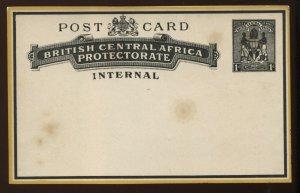 British Central Africa 1890 Internal 1d Post Card unused light toning spots