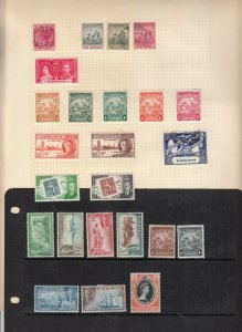 BARBADOS ALBUM PAGE  VALUES MOSTLY GEORGE 5TH-QE 2ND, MOUNTED MINT/USED
