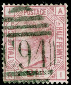 SG141, 2½d rosy mauve PLATE 15, USED. Cat £60. AI