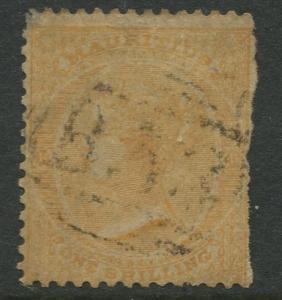 Mauritius - Scott 39 - QV Definitives-1864 - Used - Single 1/- Stamp