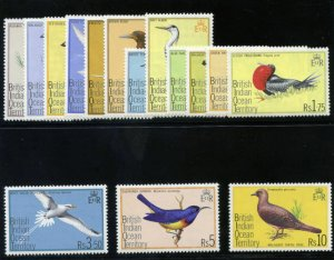 B.I.O.T. 1975 QEII Birds set complete superb MNH. SG 62-76. Sc 63-77.