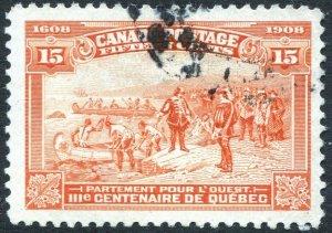 CANADA-1908 Quebec Tercentenary 15c Brown-Orange Sg 194 GOOD USED V35494
