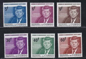 Congo Dem.  Rep.# 514-519, John F. Kennedy Memorial, NH, 1/2 Cat.