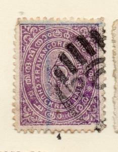 Travancore 1904-20 Early Issue Fine Used 1/2ch. 268190