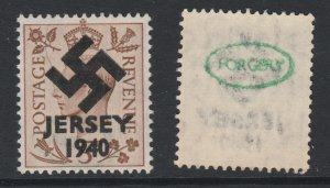 Jersey 1940 Swastika opt on Great Britain KG6 5d brown