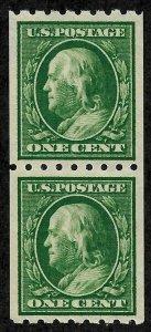 Doyle's_Stamps:  XF NHog 1910  1c Franklin Pair, Scott #390**