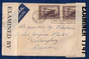 Canada (1944) Scott #260 Censored Airmail Cover - [Kamloops B.C.Machine Cancel]