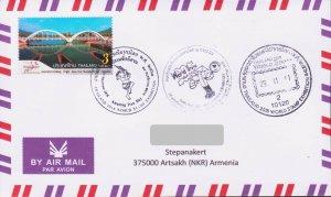 RARE THAILAND WORLD STAMP BRIDGE 2018 FDC TO ARTSAKH KARABAKH ARMENIA R18263