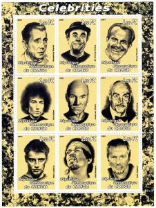 ACTORS Caricatures Sheet (9) Perforated Mint (NH)