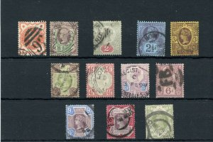 #111 - 122 early Victorian used nice cancels Cat value $274 Great Britain Penny