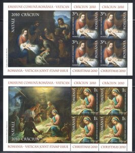 2010 Romania Folder Natale Craciun 2 Bf Issue Joint Issue With Vatican Join