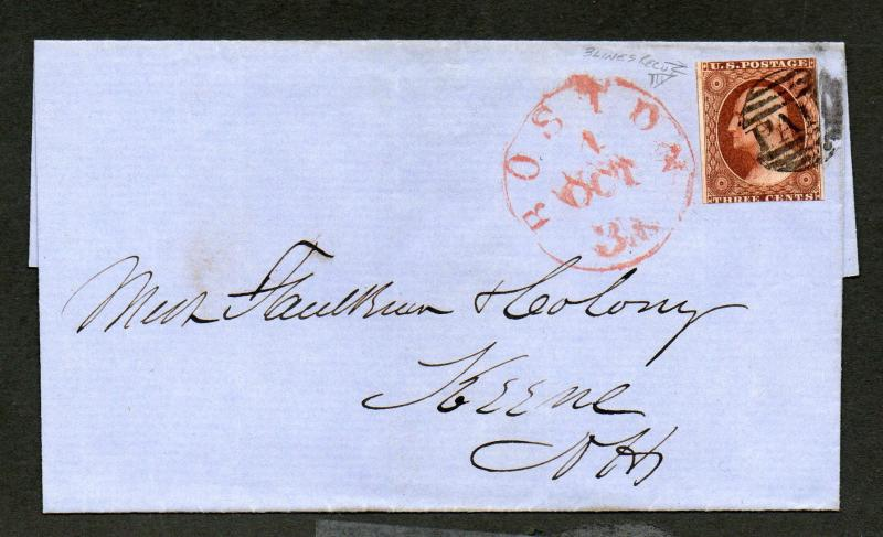 US Sc #10a 3 Lines Recut Upper Left A Boston MA Oct 4 CDS & Paid Cancels Cover
