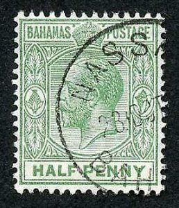 Bahamas SG81 1/2d green wmk Mult Crown CA CDS used  Cat 12 pounds