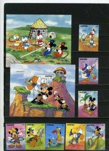 LESOTHO 1991 WALT DISNEY GAMES SET OF 8 STAMPS & 2 S/S MNH