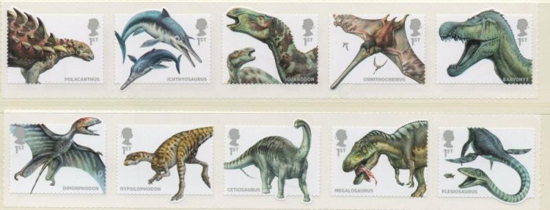 Great Britain Sc 3228-37 2013 Dinosaurs stamp set mint NH