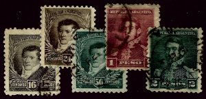 Argentina #100-104 Used F-VF most hr...Worth a Close Look!