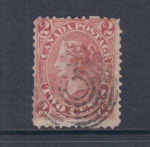 Canada Sc 20 used 1864 2c rose QV perf 12 x 11¾