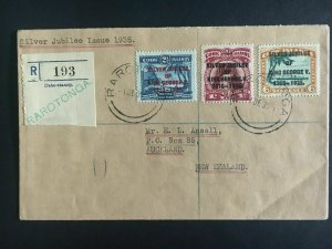 1935 Cook Islands Cover Jubilee to New Zealand # 98-100