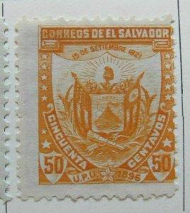 A6P37F22 Salvador Official Stamp 1896 Wmk Liberty Cup 50c mh*