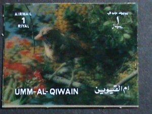 UMM AL QIWAIN STAMP-COLORFUL 3D STAMP-SINGING BIRD- MINT STAMP- VERY FINE