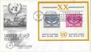 United Nations, New York #145, 20th Anniv., Art Craft, souvenir sheet