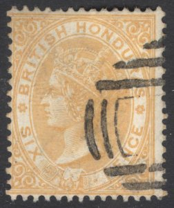 Br Honduras 1885 6d Yellow Wmk Crown CA Scott 16 SG 21 VFU Cat $240