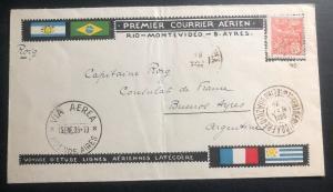1925 Rio De Janeiro Brazil First Flight Cover FFC to Buenos Aires Argentina