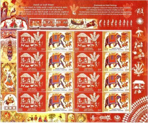 india 2012 Sheetlet Shekhawati & Warli Painting  MNH