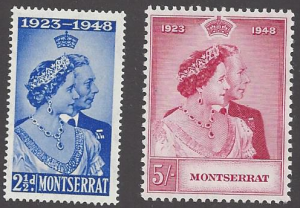 Montserrat #106-7 MNH set,Silver wedding issue, issued 1949