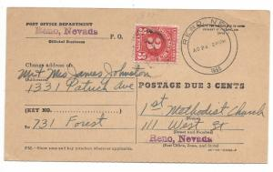 United States, J72, Postage Due Card Addressed, Used