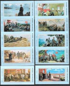 CHINA 1993. SET COMPLETE OF 10 COMMEM. SOUV. SHEETS MAO ZEDONG 100 YEARS, MNH