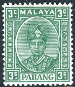PAHANG-1941 3c Green (Ordinary Paper).  A mounted mint example Sg 31